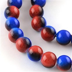 FireBrick Two-Color Baking Painted Glass Bead Strands, Round, FireBrick, 8mm; Hole: 1.3~1.6mm; about 104pcs/strand, 32.7""