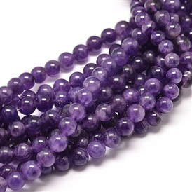 Natural Amethyst Round Bead Strands, 8mm, Hole: 1mm; about 49pcs/strand, 16