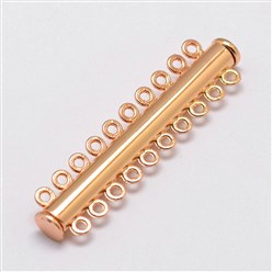 Light Gold Alloy Magnetic Slide Lock Clasps, 10-Strand, 20-Hole, Tube, Light Gold, 56x13.5x7mm, Hole: 2mm