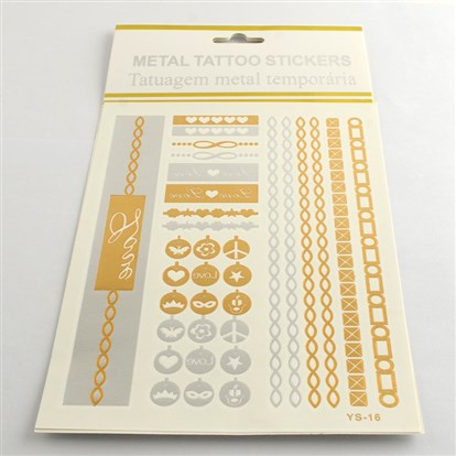 Mixed Shapes Cool Body Art Removable Fake Temporary Tattoos Metallic Paper Stickers, 14~175x5~26mm; 12pcs/bag