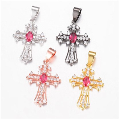 Brass Micro Pave Cubic Zirconia Pendants, Latin Cross-1