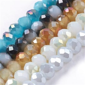 Electroplate Glass Faceted Abacus Beads Strands, Imitation Jade, Half Plated