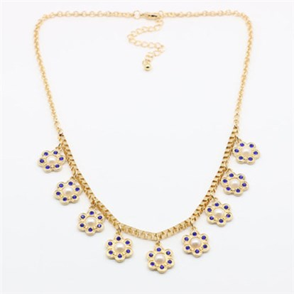 Alloy Rhinestone Bib Necklaces, with Pearl Beads and Lobster Claw Clasps-1