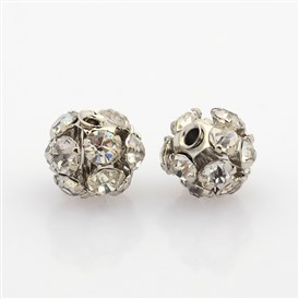 Platinum Plated Brass Rhinestone Beads, Hollow Round, 6mm, Hole: 1mm