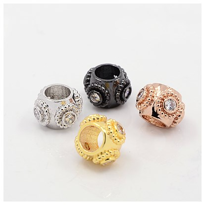 Brass Micro Pave Cubic Zirconia European Beads, Lead Free & Nickel Free & Cadmium Free, Rondelle, 7x10mm, Hole: 5mm-1