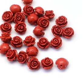 Flower Cinnabar Beads, 11~12x9mm, Hole: 1~2mm