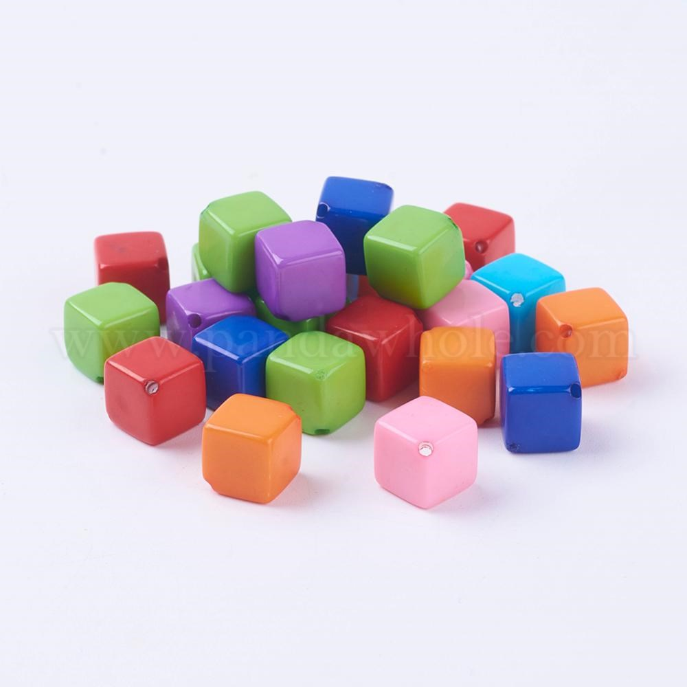 Colorful Acrylic Beads, Cube, 8x8x8mm, Hole: 1mm