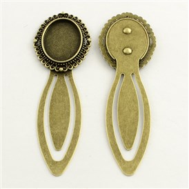 18x25mm Tray Bookmark Cabochon Settings, Iron with Alloy Oval Tray, Lead Free & Cadmium Free, 87x28x3mm