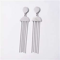 Stainless Steel Color 304 Stainless Steel Stud Earrings, Dangle Earrings, Stainless Steel Color, 76.5x17x1.3mm; Pin: 0.7mm