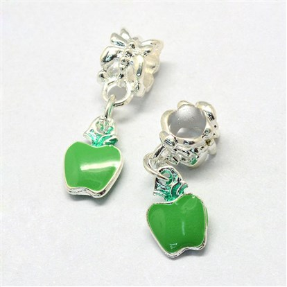 Alloy Enamel European Dangle Beads, Large Hole Beads, Apple-1