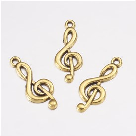 Tibetan Style Treble Clef Pendants, Lead Free, Musical Note, 26x10x2mm, Hole: 2mm