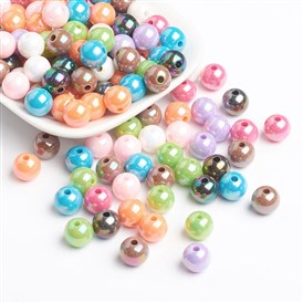 Solid Color Acrylic Beads, AB Color Plating, Round