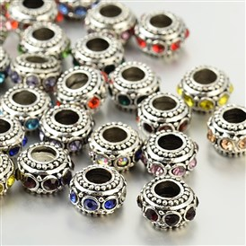 Antique Silver Zinc Alloy Rhinestone Large Hole European Rondelle Beads