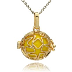 Gold Golden Tone Brass Hollow Round Cage Mexican Ball Pendants, with No Hole Spray Painted Brass Ball Beads, Gold, 23x24x18mm, Hole: 3x8mm