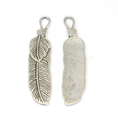 Tibetan Style Zinc Alloy Big Pendants, Leaf, Lead Free & Cadmium Free & Nickel Free-1