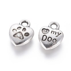 Antique Silver Tibetan Style Alloy Charm Enamel Settings, Heart Carved Word My Dog, Lead Free, Antique Silver, 13x10x3mm, Hole: 2mm; about 980pcs/1000g