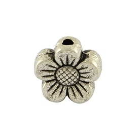 Tibetan Style Alloy Sunflower Beads, Lead Free, 8x8.5x3mm, Hole: 1.5mm; about 1650pcs/1000g