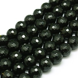 Natural Black Tourmaline Beads Strands, Round, Faceted