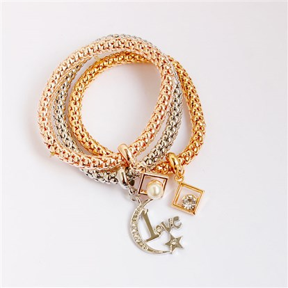 Alloy Stretch Charm Bracelets, Popcorn Chain, with Rhinestone and Imitation Pearl, Rhombus & Moon-1