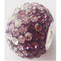 204_Amethyst Austrian Crystal with Sterling Silver Single Core European Beads, Large Hole Beads, Rondelle, 204_Amethyst, 14x12mm, Hole: 4.5mm