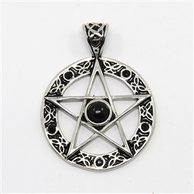 Vintage Men's 316 Stainless Steel Ring with Pentagram Star Pendants, with Rhinestone and Resin, Antique Silver, 37x28x5mm, Hole: 6x3mm