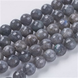 Natural Labradorite Beads Strands, Faceted, Round, Hole: 1mm