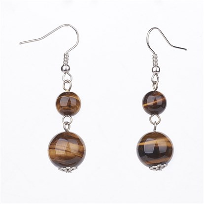 Wholesale Natural Gemstone Dangle Earrings With Brass