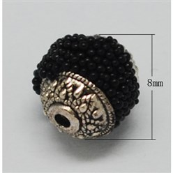 Black Handmade Indonesia Beads, with Brass Core, Round, Black, Size: about 8mm in diameter, 9mm thick, hole: 1mm