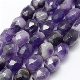 Natural Amethyst Beads Strands, Faceted, Column