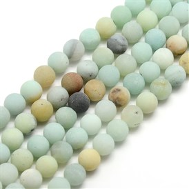 Frosted Natural Amazonite Round Bead Strands