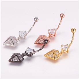 Piercing Jewelry, Brass Micro Pave Cubic Zirconia Belly Rings, with 304 Stainless Steel Pins, Diamond  Shape