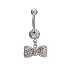 Platinum Piercing Jewelry Real 18K Platinum Plated Brass Rhinestone Bowknot Navel Ring Belly Rings, 36x17mm