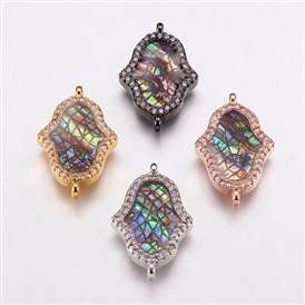 Brass Micro Pave Cubic Zirconia Links, with Abalone/Paua Shell, Hamsa Hand