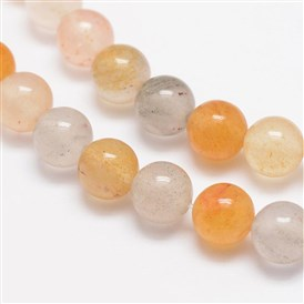 Round Natural Yellow Iron Quartz Beads Strands, 8mm, Hole: 1mm; about 48pcs/strand, 14.9