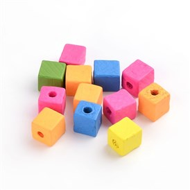 Cube Wood Beads, Lead Free, 14x14x14mm, Hole: 5mm; about 380pcs/500g