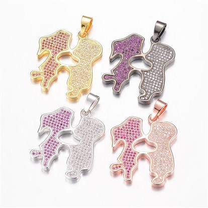 Brass Micro Pave Cubic Zirconia Pendants, Lover-1