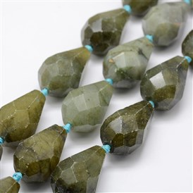 Natural Labradorite Beads Strands, Faceted, Drop