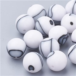 White Cellulose Acetate(Resin) Beads, Round, White, 14mm, Hole: 2mm