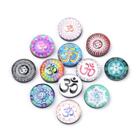 Fridge Magnets Glass Decorations, Flat Round with Yoga Pattern