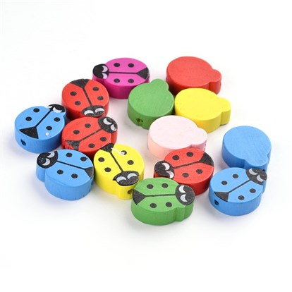 Wood Beads, Lead Free, Dyed, Ladybug, Mixed Color, 18~19x15x6mm, Hole: 2mm-1