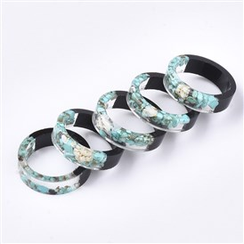 Epoxy Resin & Ebony Wood Rings, with Shell and Synthetic Turquoise