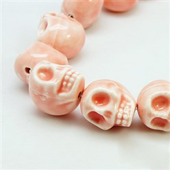 LightSalmon Handmade Porcelain Beads Strands, Bright Glazed Style, Skull, Halloween, LightSalmon, about 15mm wide, 18mm long, 18mm thick, Hole: 1.5mm