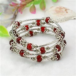 Red Fashion Wrap Bracelets, with Rondelle Glass Beads, Tibetan Style Bead Caps, Brass Tube Beads and Steel Memory Wire, Red, Inner Diameter: 55mm