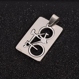 304 Stainless Steel Split Pendants, Rectangle with Bicycle, 32x21x1.5mm, Hole: 4x9mm