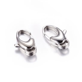 304 Stainless Steel Lobster Claw Clasps, 10x20mm, 4mm long