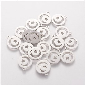 304 Stainless Steel Charms, Flat Round with Moon and Star