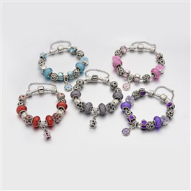 Alloy Rhinestone Enamel European Beaded Bracelets, with Resin European Beads, Brass Chains and Alloy Clasps