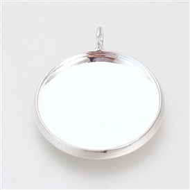 Brass Pendant Cabochon Settings, Plain Edge Bezel Cups, Flat Round