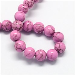 Orchid Dyed Synthetic Turquoise Gemstone Bead Strands, Round, Orchid, 6mm, Hole: 1mm; about 66pcs/strand, 15.7""