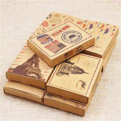 Kraft Paper Boxes and Earring Jewelry Display Cards, Packaging Boxes, with Pattern